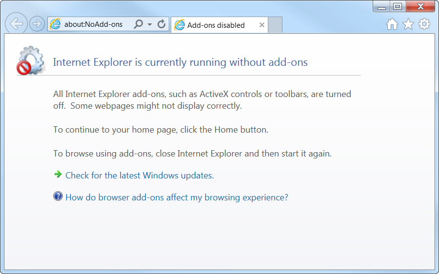 Start IE9 without Add-ons