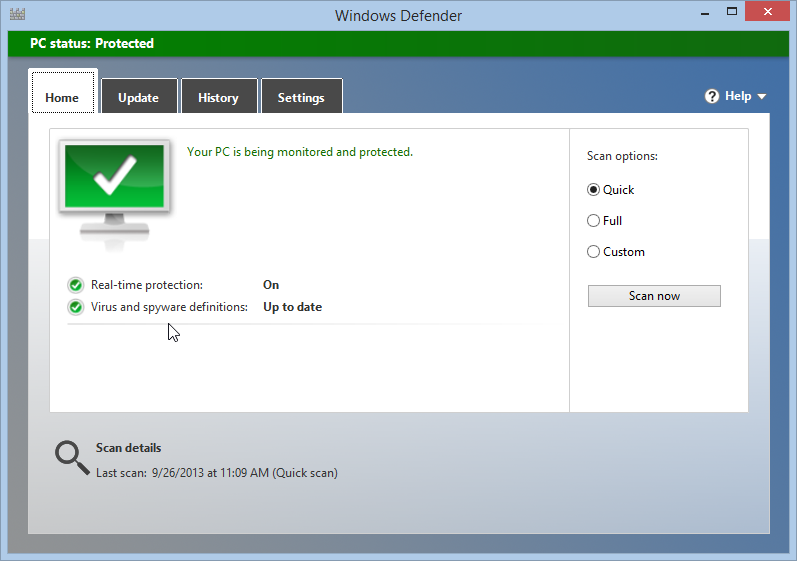 Windows Defender is On