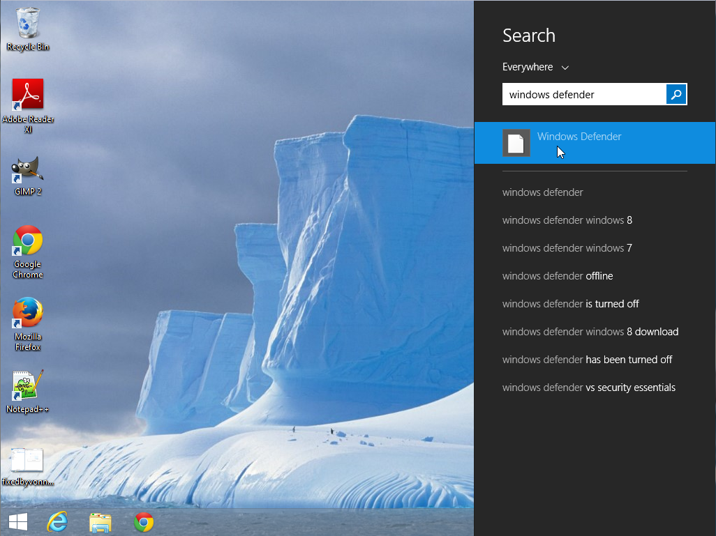 Windows 8.1 searching for Windows Defender
