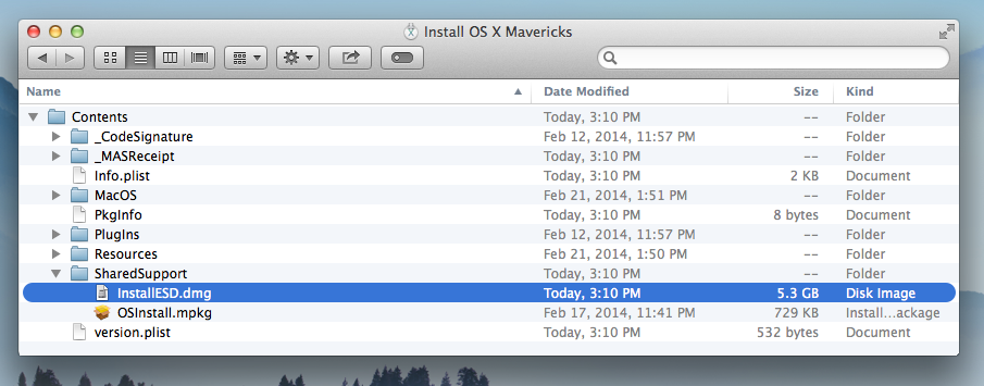 Mac OS X Mavericks InstallESD.dmg