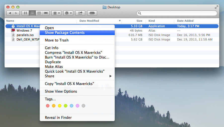 Mac OS X Mavericks Show Package Contents