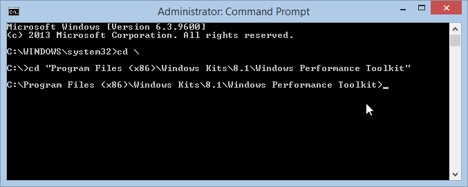 change directory to the Windows Performance Toolkit