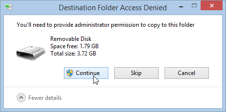 You'll need to provide administrator permission to copy to this folder