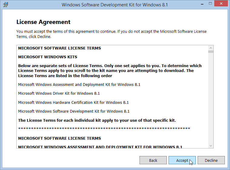 Windows Software Development Kit License Agreement